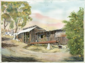 NUSBICKEL Frederck Henry - Orange Grove Pump House - watercolour by James Richard Dick Wire