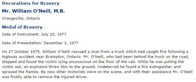 O'NEILL William 'Bill' medal of bravery 1977