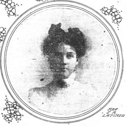 Mattie Diona (Knox) Latimer as pictured in the Oakland Tribune alongside the report of her wedding to Edward Latimer