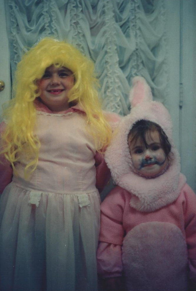 Lisa and Jenna Hadden all set for Halloween in 1991
