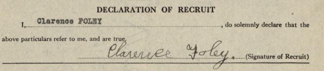FOLEY Clarence WWI oath 1918