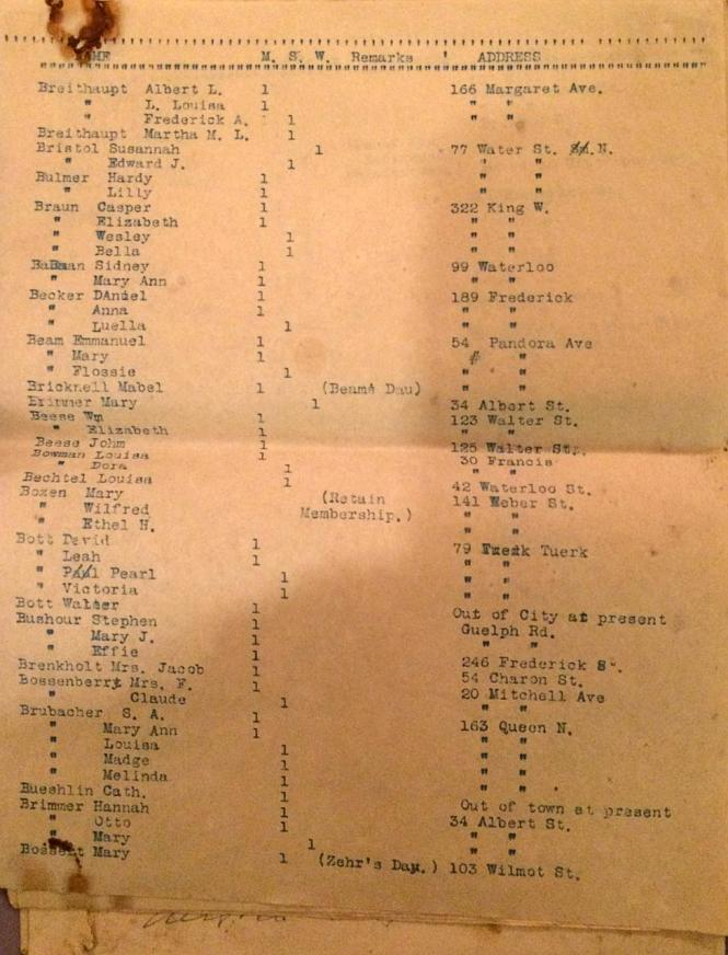 BERLIN Ont ZION EVANG Church members list 1915 p2
